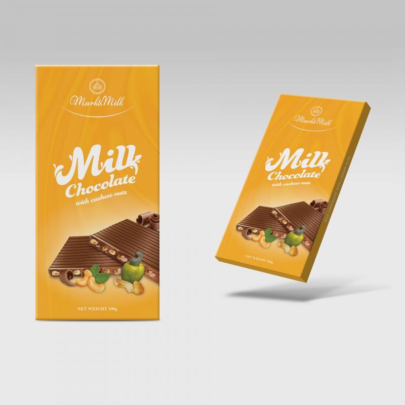 Sô cô la sữa nhân hạt điều 100g Mark&Milk